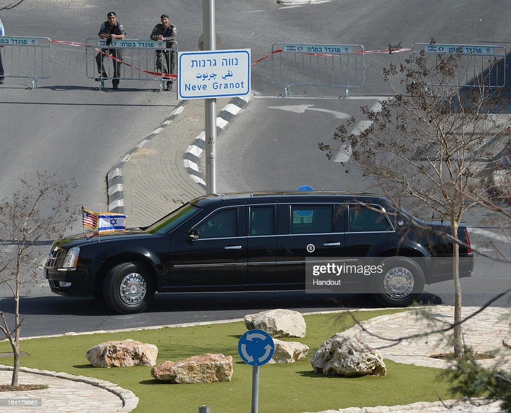 In this handout image supplied by the Government Press Office of Israel (GPO), A limousine, carrying US President Barack Obama, drives on March 20, 2013 in Jerusalem, Israel. This will be Obama's first visit as President to the region, and his itinerary will include meetings with the Palestinian and Israeli leaders as well as a visit to the Church of the Nativity in Bethlehem.