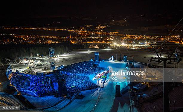 In this handout image supplied by the IOC A general view of Lysgardsbakken Ski Jumping Arena at the beginning of the opening ceremony for the 2016...