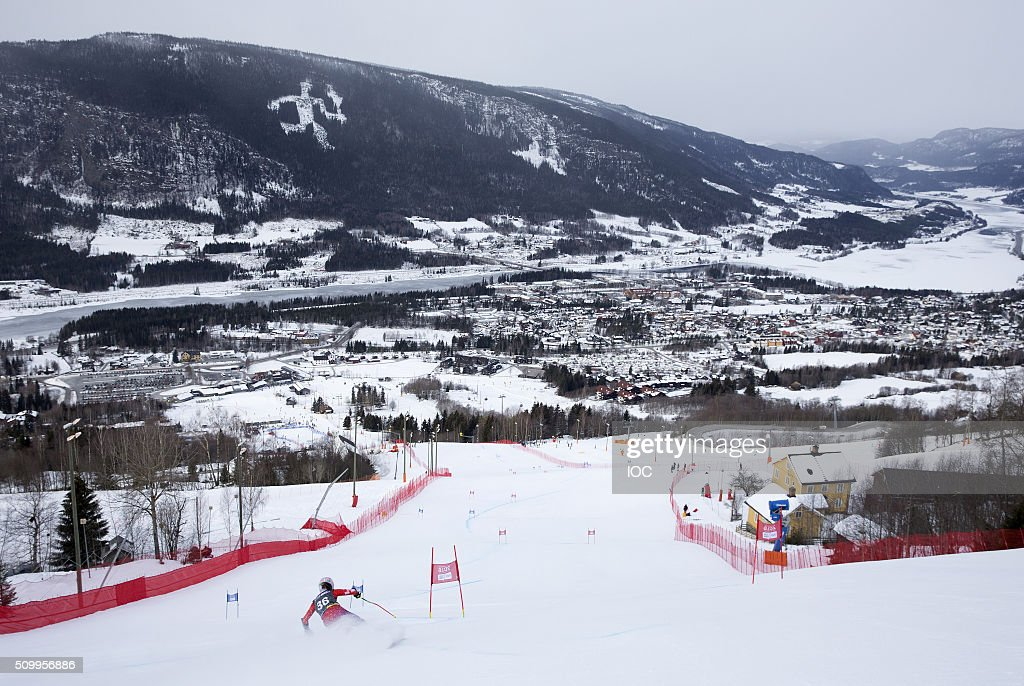 In this handout image supplied by the IOC, A view of the Hafjell Olympic Slope as Milica Kovacevic of Serbia competes in Alpine Skiing Ladies' Super-G during the Winter Youth Olympic Games on February 13, 2016 in Lillehammer, Norway.