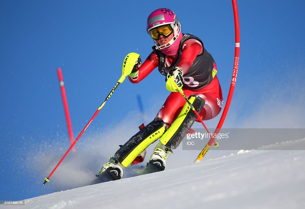 In this handout image supplied by the IOC, Aline Danioth SUI competes during the Ladies Alpine Combined Slalom at the Hafjell Olympic Slope during the Winter Youth Olympic Games, February 14, 2016 in Lillehammer, Norway.