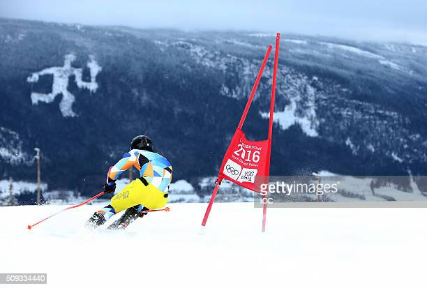 In this handout image supplied by the IOC An athlete is seen during the Alpine Skiing training session prior to the 2016 Winter Youth Olympic Games...