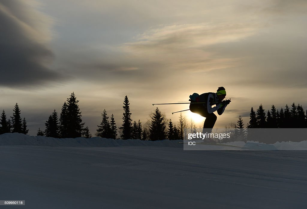 In this handout image supplied by the IOC, an athlete practices in the early morning ahead of the first day of competition at the Birkebeineren Cross Country Stadium during the Winter Youth Olympic Games on February 13, 2016 in Lillehammer, Norway.