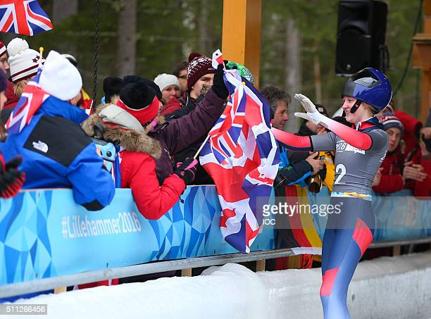 In this handout image supplied by the IOC Ashleigh Fay Pittaway of Great Britain celebrates after winning the Gold Medal in the Women's Individual...