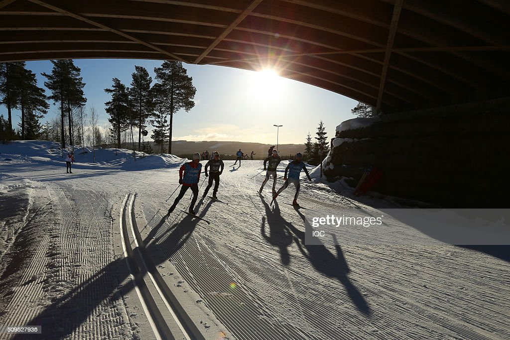 YIS/IOC LILLEHAMMER, NORWAY - FEBRUARY 11: In this handout image supplied by the IOC, Atlhletes practice in the croos country ahead of the Winter Youth Olympic Games on February 11, 2016 in Lillehammer, Norway.