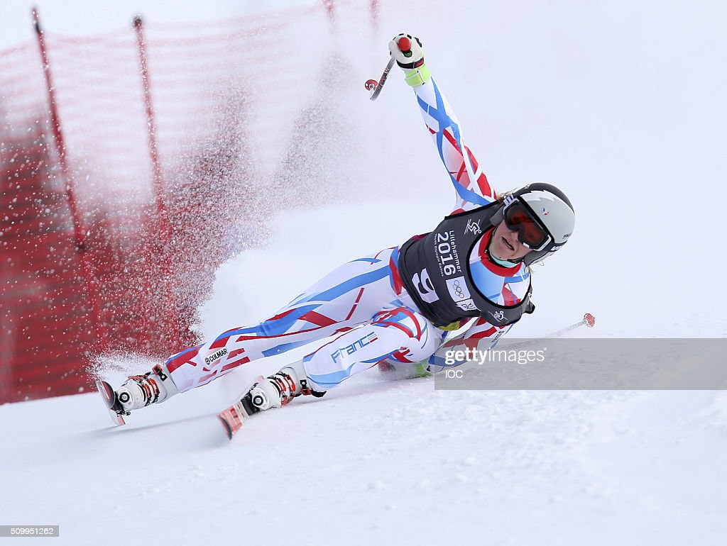 In this handout image supplied by the IOC, Camille Cerutti of France competes in Alpine Skiing Ladies' Super-G at the Hafjell Olympic Slope during the Winter Youth Olympic Games on February 13, 2016 in Lillehammer, Norway.