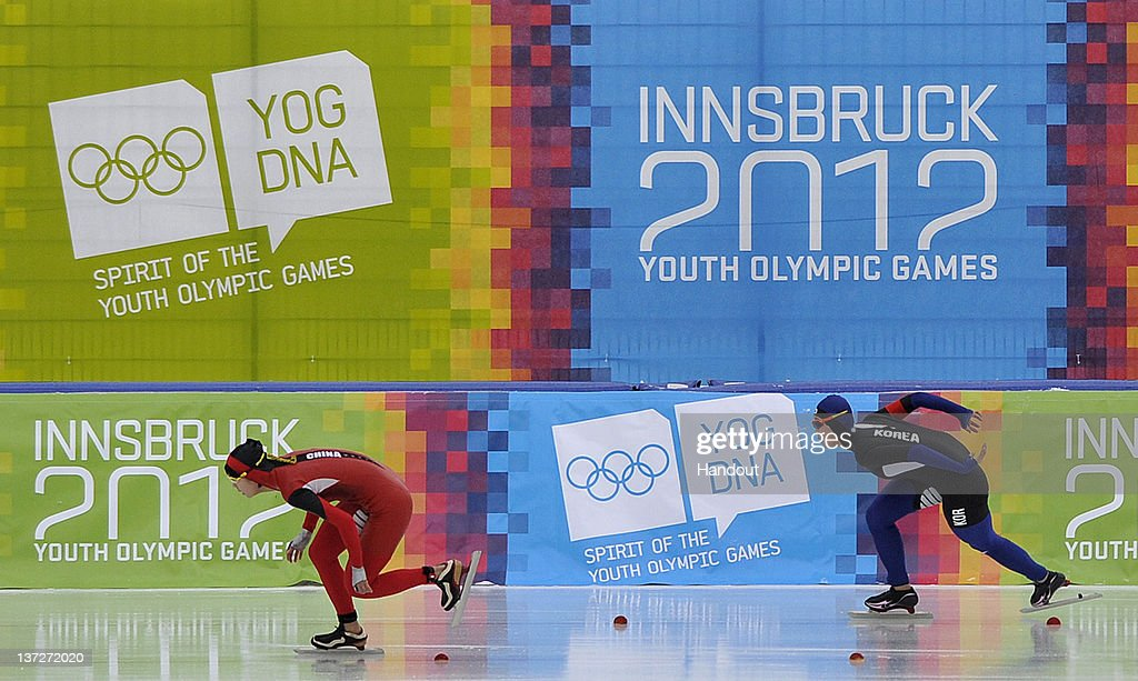 In this handout image supplied by the IOC (International Olympic Committee), Chinese athlete Shi Xiaoxuan (L) of China and Jang Mi of South Korea compete in the women's 500m speed skating at the Skating Oval during the Innsbruck 2012 Winter Youth Olympic Games, on January 14, 2012 in Innsbruck, Austria.