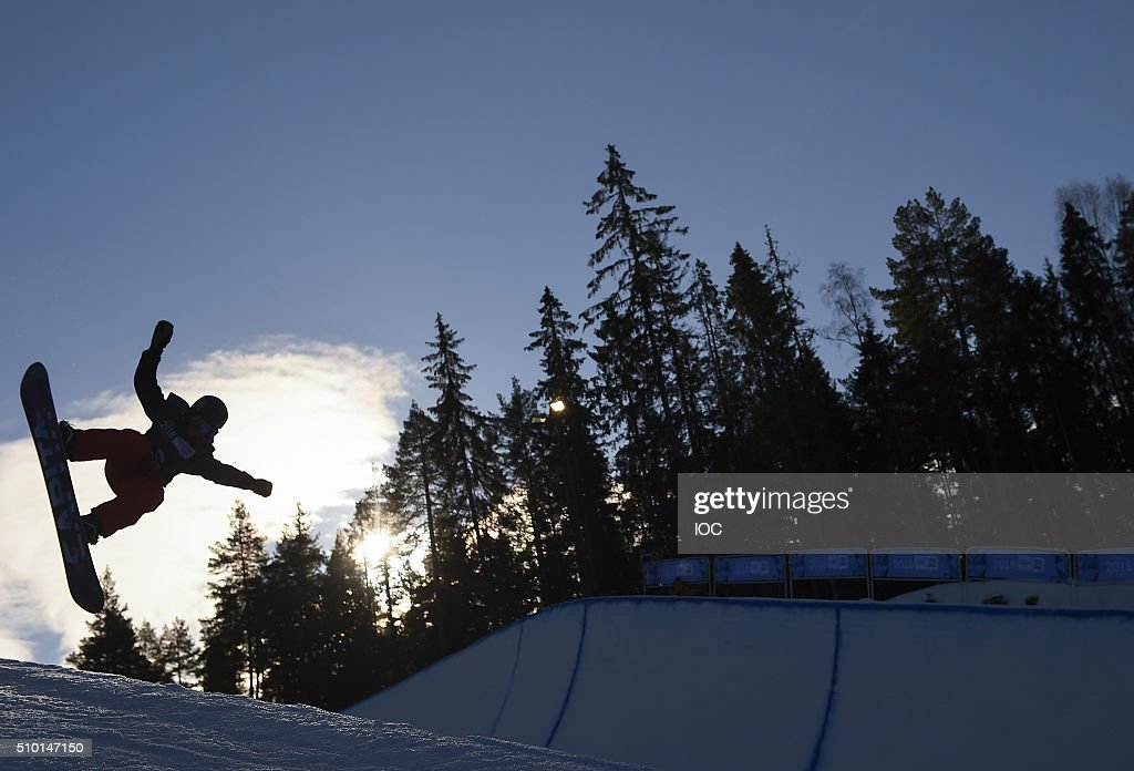 In this handout image supplied by the IOC, Christoph Lechner of Germany competes in the Men's Snowboard Halfpipe Finals at the Oslo Vinterpark Halfpipe during the Winter Youth Olympic Games on February 14, 2016 in Lillehammer, Norway.