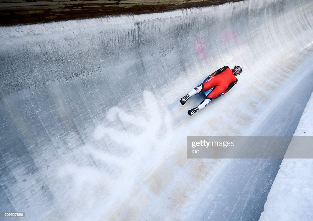 In this handout image supplied by the IOC, Egle Madeleine of Austria on a practice run during Luge practice at Lillehammer Olympic Sliding Centre before the Winter Youth Olympic Games on February 11, 2016 in Lillehammer, Norway.
