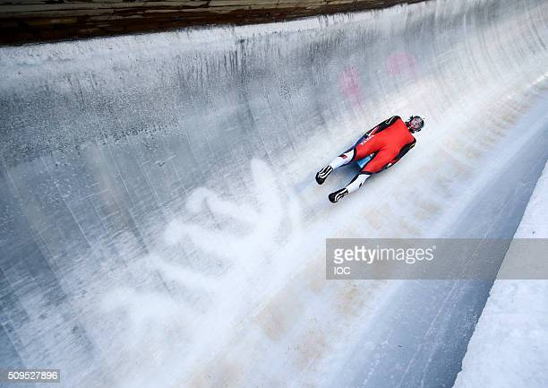 In this handout image supplied by the IOC Egle Madeleine of Austria on a practice run during Luge practice at Lillehammer Olympic Sliding Centre...