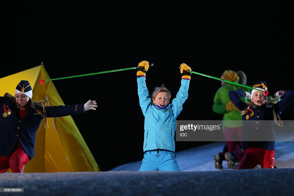 In this handout image supplied by the IOC, Eilif Hellum Noraker performs at the Lysgardsbakkene Ski Jumping Arena during the Opening Ceremony of the 2016 Winter Youth Olympic Games on February 12, 2016 in Lillehammer, Norway.