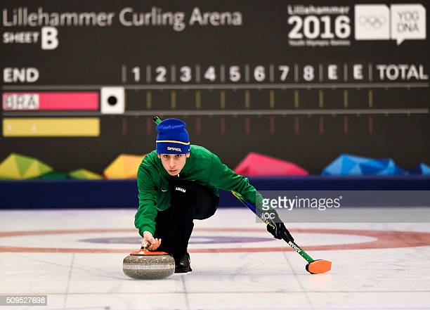 In this handout image supplied by the IOC Elian Sabra Rocha of Brazil practices Curling at The Kristins Hall before the Winter Youth Olympic Games on...