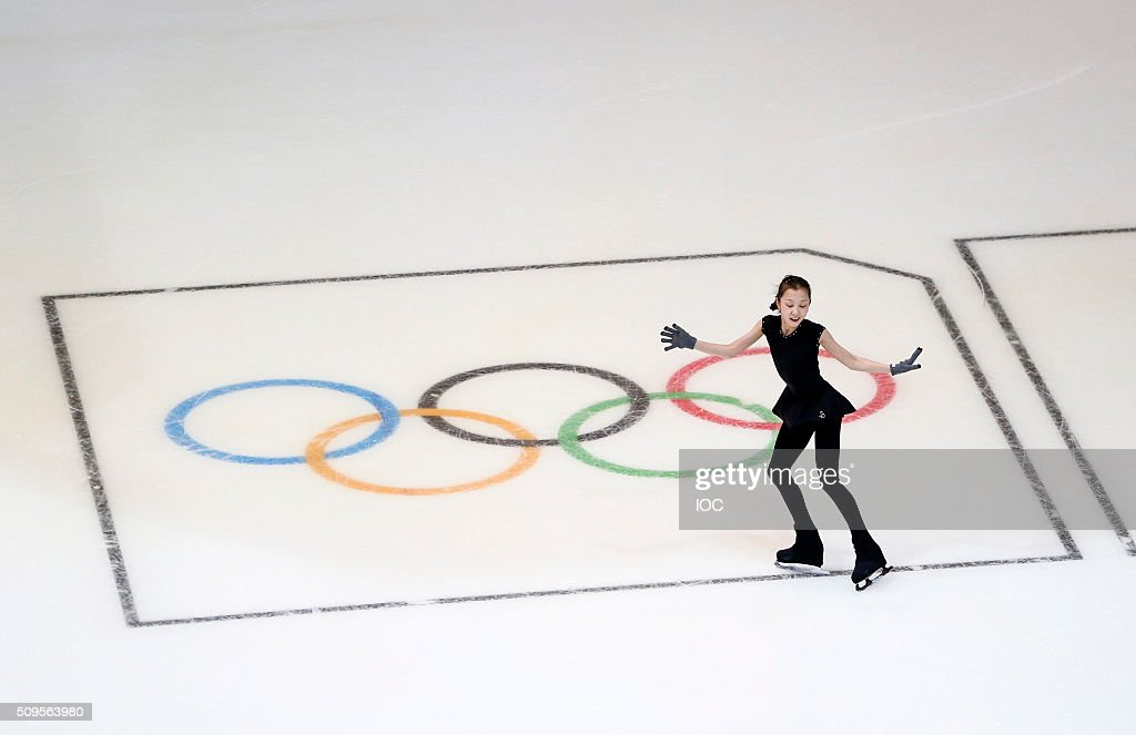 In this handout image supplied by the IOC, Elizabet Tursynbaeva of Kazakhstan practices in The Hamar Olympic Amphitheatre before the Winter Youth Olympic Games on February 11, 2016 in Lillehammer, Norway.
