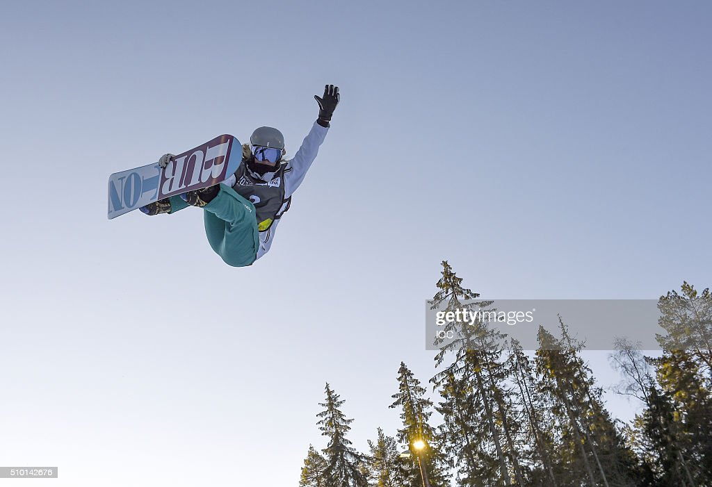 In this handout image supplied by the IOC, Emily Arthur of Australia competes in the Ladies' Snowboard Halfpipe Finals at Oslo Vinterpark Halfpipe during the Winter Youth Olympic Games on February 14, 2016 in Lillehammer, Norway.