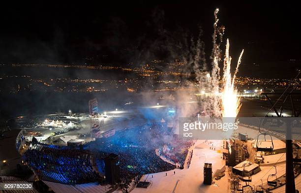 In this handout image supplied by the IOC Fireworks at the Lysgardsbakkene Ski Jumping Arena during the Opening Ceremony of the 2016 Winter Youth...