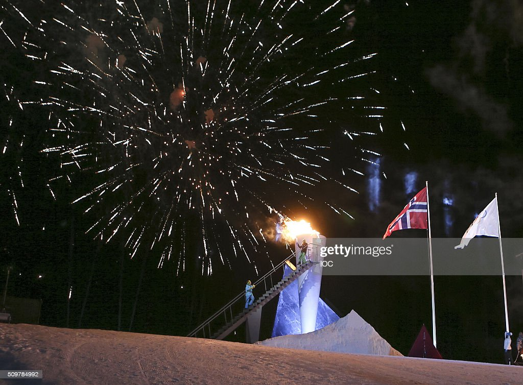 In this handout image supplied by the IOC, Fireworks explode during the Opening Ceremony of the Lillehammer 2016 Winter Youth Olympic Games at the Lysgardsbakkene Ski Jumping Arena on February 12, 2016 in Lillehammer, Norway.