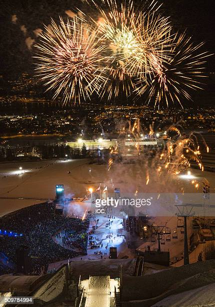 In this handout image supplied by the IOC Fireworks explode during the Opening Ceremony of the Lillehammer 2016 Winter Youth Olympic Games at the...