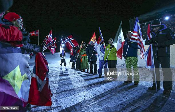 In this handout image supplied by the IOC Flagbearers during the Opening Ceremony of the Lillehammer 2016 Winter Youth Olympic Games at the...
