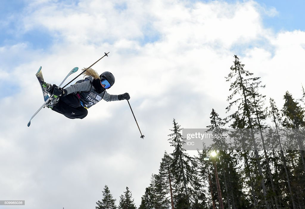 In this handout image supplied by the IOC freestyle skier Paula Cooper of the United States practices at Oslo Vinterpark Halfpipe during the Winter...