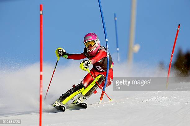 In this handout image supplied by the IOC Gold medal winner Aline Danish of Switzerland skis in the slalom section of the Ladies Alpine Combined...