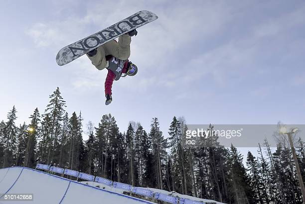 In this handout image supplied by the IOC Gold medal winner Chloe Kim of the United States competes in the Ladies' Snowboard Halfpipe Finals at Oslo...