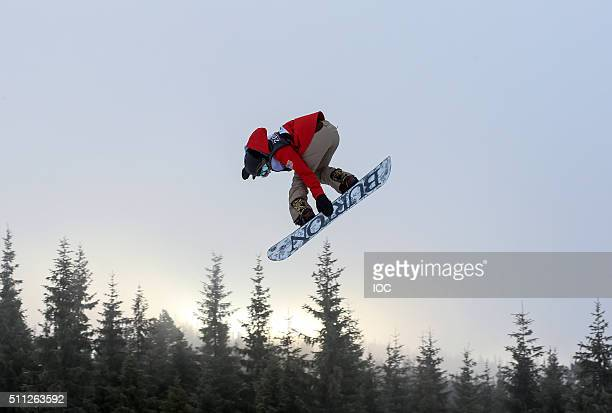 In this handout image supplied by the IOC Gold Medal winner Chloe Kim of United States competes in the Snowboard Ladies' Slopestyle Finals at Hafjell...