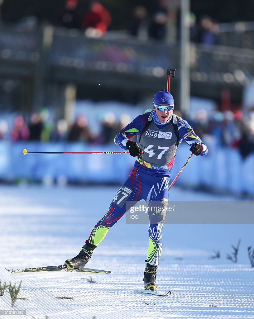 In this handout image supplied by the IOC, Gold medal winner Emilien Claude of France finishes the Men's 7.5km Sprint at the Hafjell Olympic Slope during the Winter Youth Olympic Games on February 14, 2016 in Lillehammer, Norway.