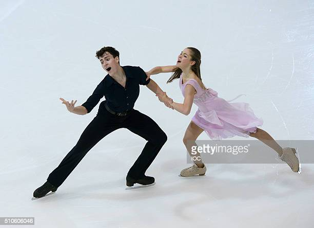 In this handout image supplied by the IOC Gold Medal winners Anastasia Shpilevaya and Grigory Smirnov of Russia perform their Free Dance during the...