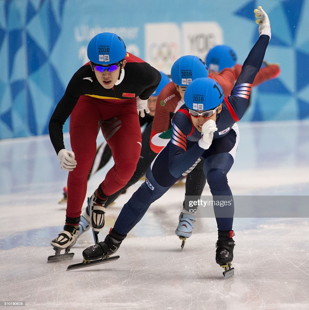 In this handout image supplied by the IOC Gold medallist Daeheon Hwang KOR (Center), silver medalist Ma Wei CHN (Left) compete during the Men's Short Track 1000m finals at Gjovik Olympic Cavern Hall during the Winter Youth Olympic Games, Lillehammer Norway, 14 February 2016. Photo: Al Tielemans for YIS/IOC Handout image supplied by YIS/IOC