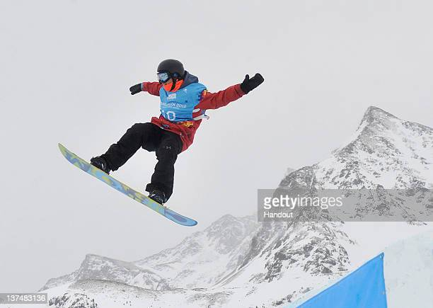 In this handout image supplied by the IOC Gold medallist Michael Ciccarelli of Canada competes during the Men's Snowboard Slopestyle during the...