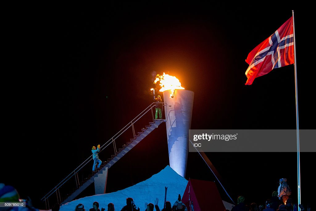 In this handout image supplied by the IOC, Her Royal Highness Princess Ingrid Alexandra of Norway lights the cauldron during the Opening Ceremony of the Lillehammer 2016 Winter Youth Olympic Games at the Lysgardsbakkene Ski Jumping Arena on February 12, 2016 in Lillehammer, Norway.