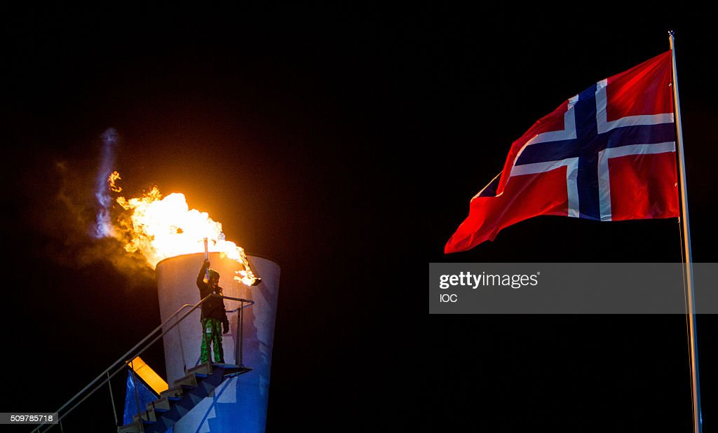 In this handout image supplied by the IOC, Her Royal Highness Princess Ingrid Alexandra of Norway lights the cauldron of Lillehammer 2016 Winter Youth Olympic Games during the Opening Ceremony at the Lysgardsbakkene Ski Jumping Arena on February 12, 2016 in Lillehammer, Norway.
