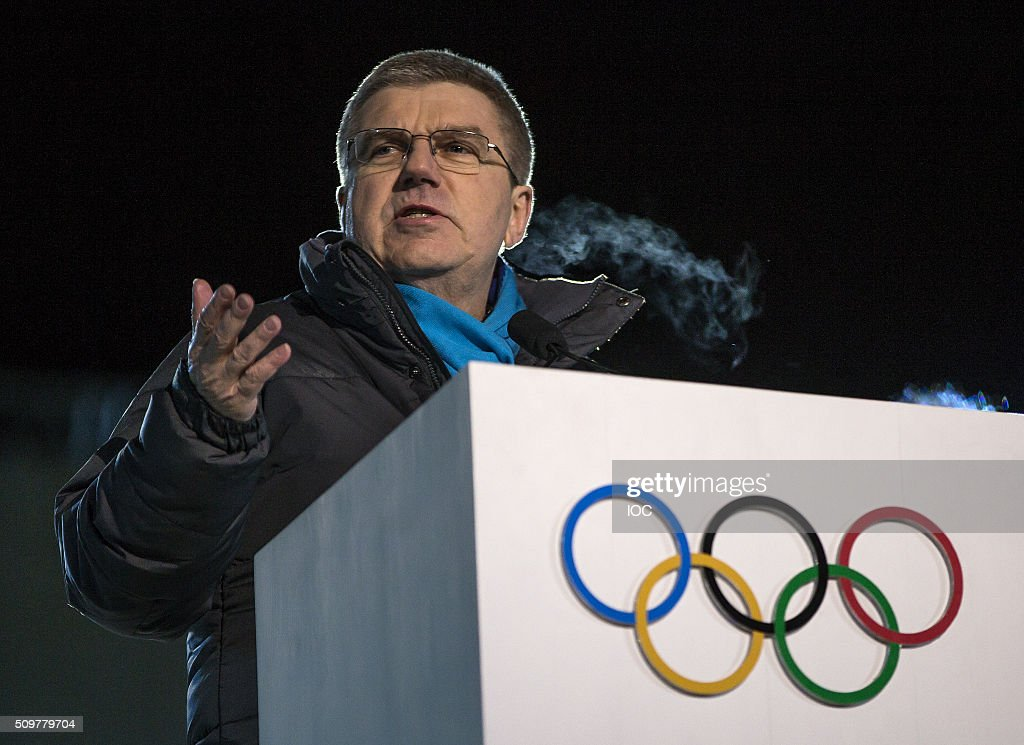 In this handout image supplied by the IOC, International Olympic Committee (IOC) President <a gi-track='captionPersonalityLinkClicked' href=/galleries/search?phrase=Thomas+Bach&family=editorial&specificpeople=610149 ng-click='$event.stopPropagation()'>Thomas Bach</a> delivers a speech during the Opening Ceremony of the Lillehammer 2016 Winter Youth Olympic Games at the Lysgardsbakkene Ski Jumping Arena on February 12, 2016 in Lillehammer, Norway.