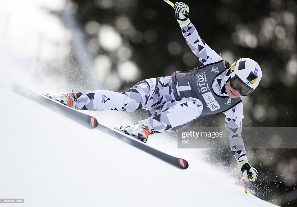 In this handout image supplied by the IOC, Julia Scheib of Austria competes in Alpine Skiing Ladies' Super-G at the Hafjell Olympic Slope during the Winter Youth Olympic Games on February 13, 2016 in Lillehammer, Norway.