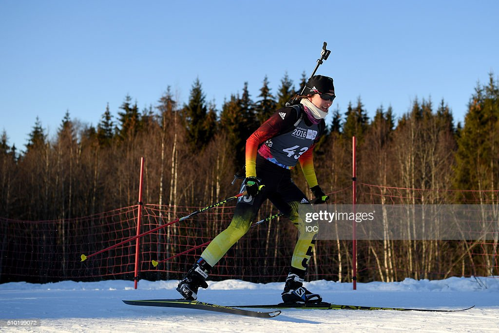 In this handout image supplied by the IOC, Juliane Fruehwirt GER winner of the Ladies 6km Sprint Biathlon during the Winter Youth Olympic Games, February 14, 2016 in Lillehammer, Norway.