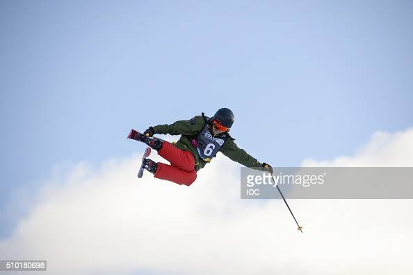 In this handout image supplied by the IOC Lara Wolf of Austria competes in the Freestyle Skiing Ladies' Ski Halfpipe Finals at Oslo Vinterpark...