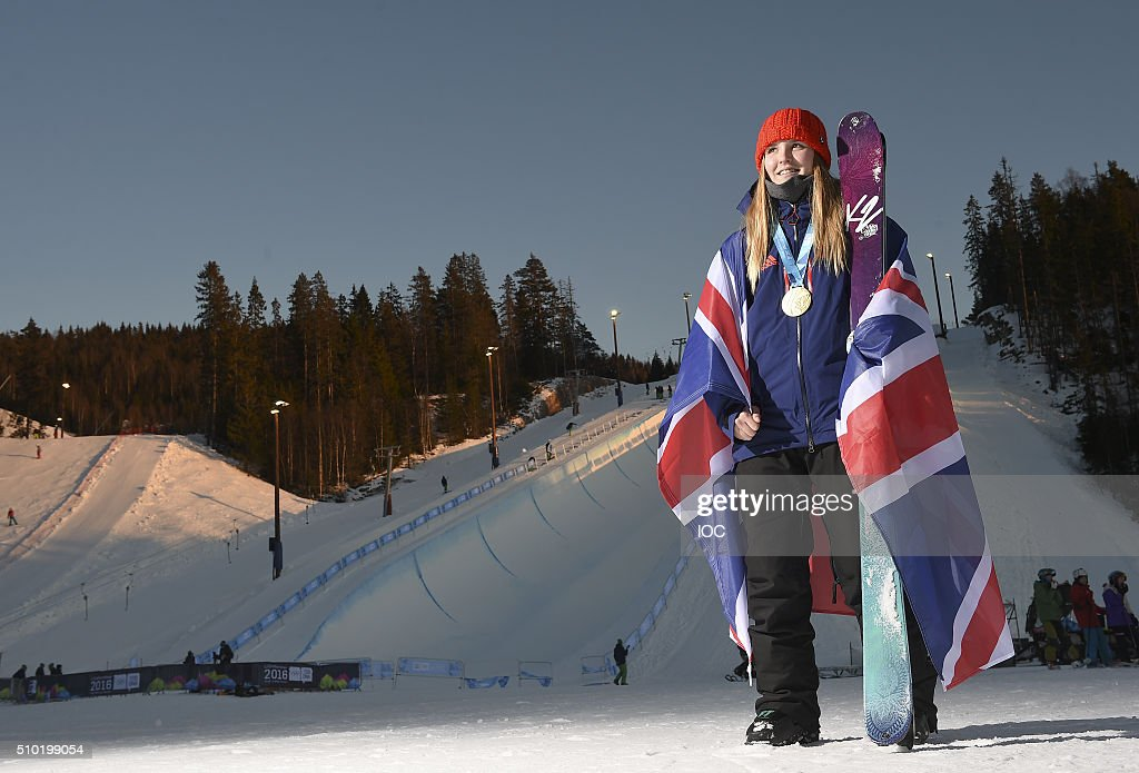 In this handout image supplied by the IOC, Madison Rowlands GBR poses with her Gold Medal after winning the Freestyle Skiing Ladies' Ski Halfpipe Finals at Oslo Vinterpark Halfpipe during the Winter Youth Olympic Games, February 14, 2016 in Lillehammer, Norway.