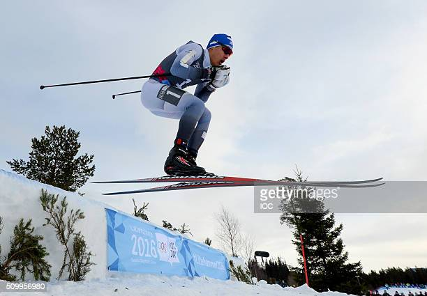 In this handout image supplied by the IOC Magnus Kim of Korea Gold medal winner of the Men's CrossCountry Cross Free Final in action during the...