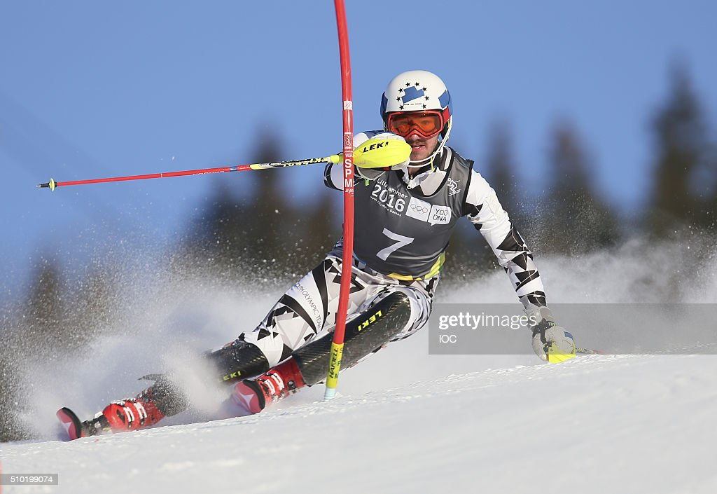 In this handout image supplied by the IOC, Manuel Traninger AUT competes during the Men's Alpine Combined Slalom Hafjell Olympic Slope during the Winter Youth Olympic Games, February 14, 2016 in Lillehammer, Norway.