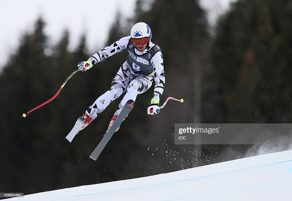 In this handout image supplied by the IOC, Manuel Traninger of Austria competes in Alpine Skiing Men's Super-G at the Hafjell Olympic Slope during the Winter Youth Olympic Games on February 13, 2016 in Lillehammer, Norway.