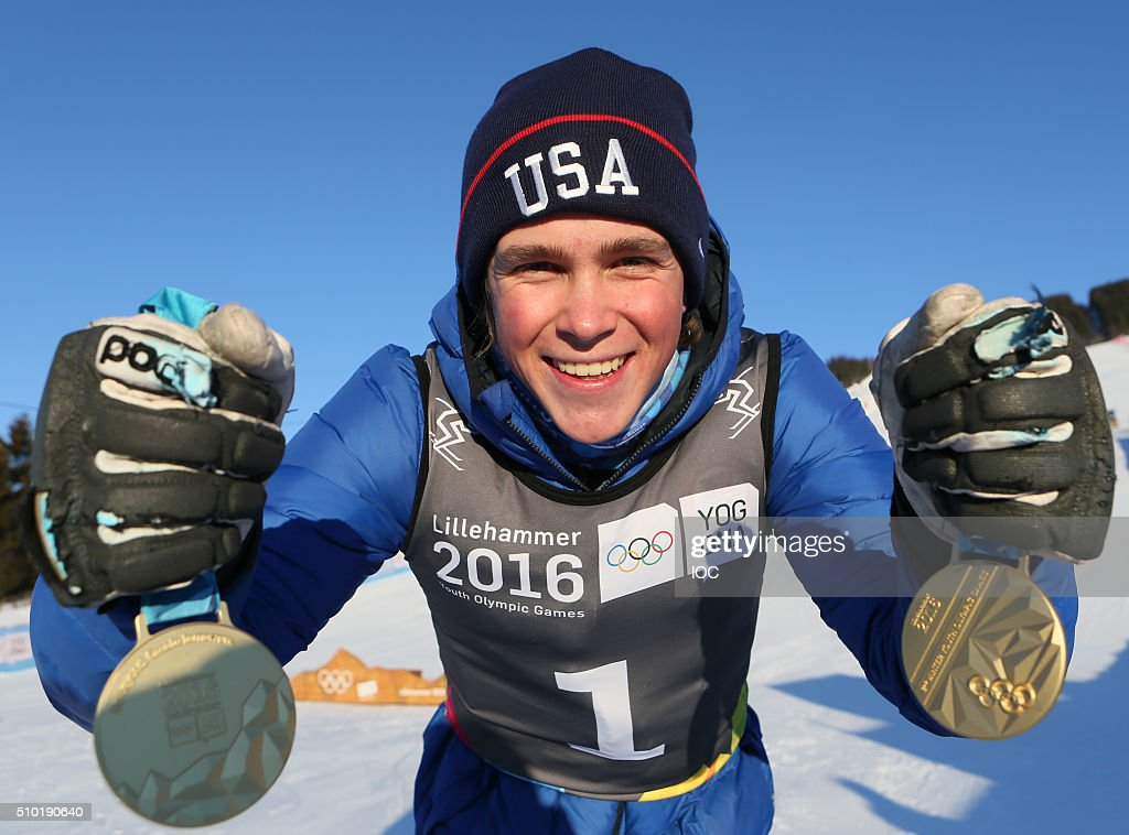 In this handout image supplied by the IOC, Men's Alpine Combined Slalom and Men's Super-G Gold Medal winner River Radamus USA with both Gold Medal's during the Winter Youth Olympic Games, Lillehammer Norway, 14 February 2016.