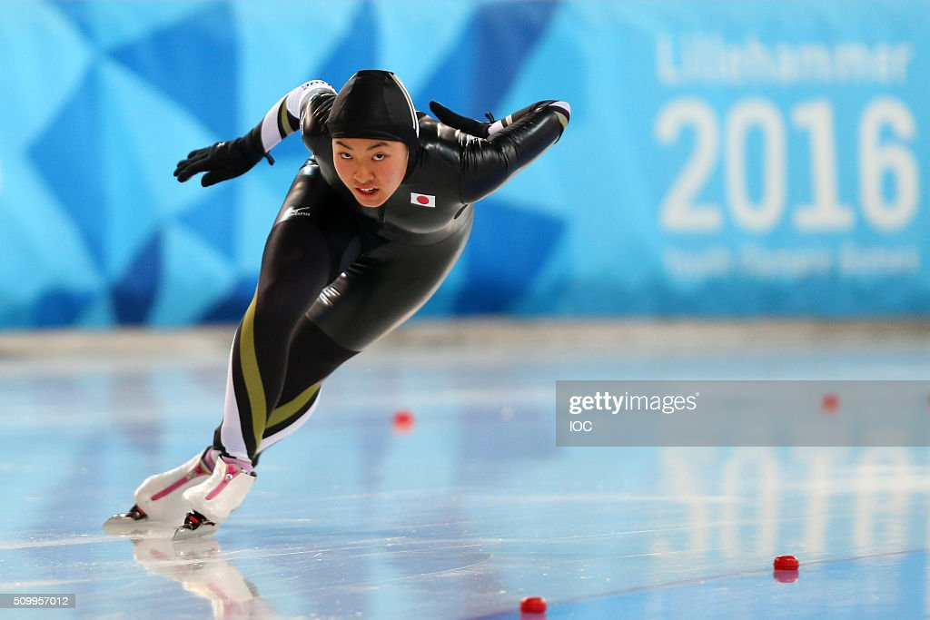 In this handout image supplied by the IOC, Moe Kumagai of Japan competes during the Ladies' 500m Speed Skating race during the Winter Youth Olympic Games on February 13, 2016 in Lillehammer, Norway.