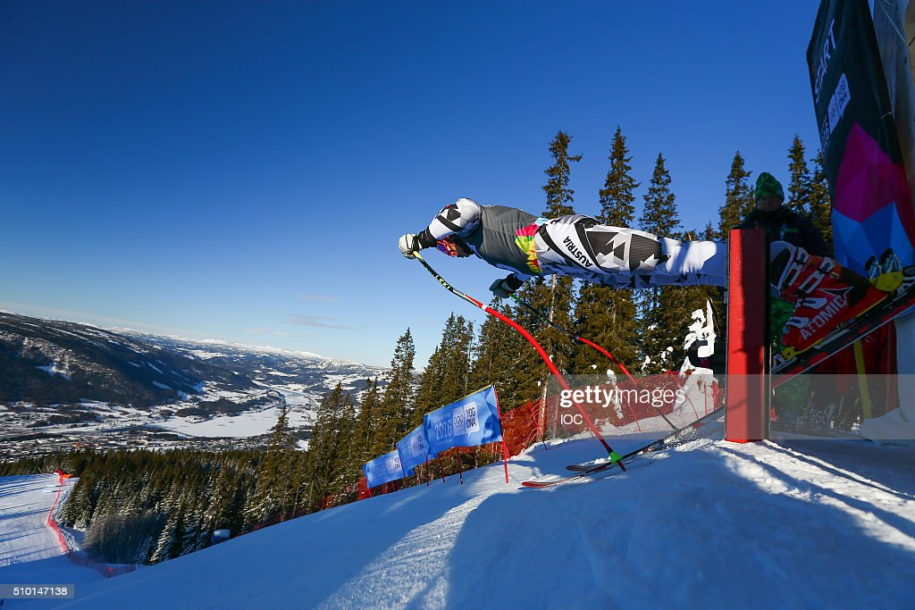 In this handout image supplied by the IOC, Moritz Opetnik of Austria competes during the Men's Alpine Combined Super-G at the Hafjell Olympic Slope during the Winter Youth Olympic Games on February 14, 2016 in Lillehammer, Norway.