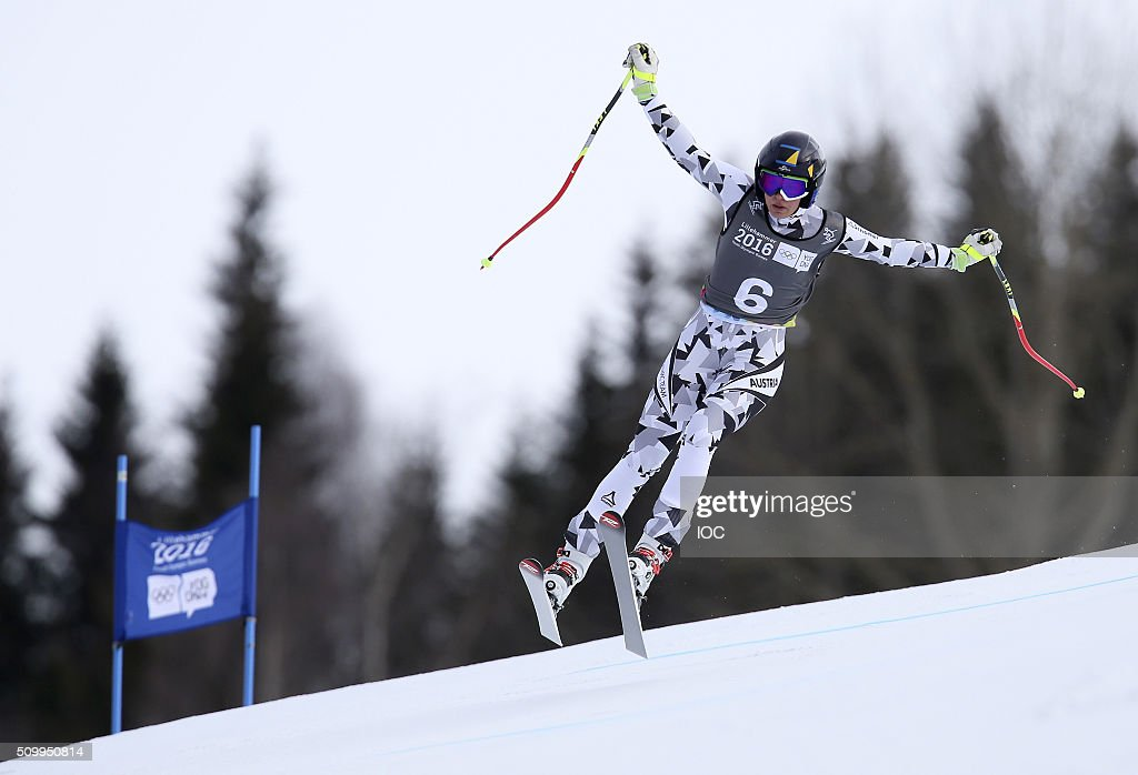 In this handout image supplied by the IOC, Nadine Fest of Austria competes in Alpine Skiing Ladies' Super-G at the Hafjell Olympic Slope during the Winter Youth Olympic Games on February 13, 2016 in Lillehammer, Norway.