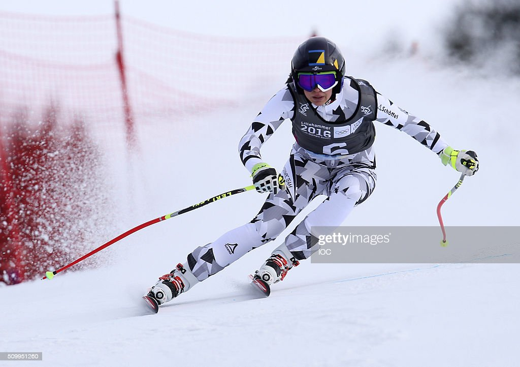 In this handout image supplied by the IOC, Nadine Fest of Austria competes on her way to winning in Alpine Skiing Ladies' Super-G at the Hafjell Olympic Slope during the Winter Youth Olympic Games on February 13, 2016 in Lillehammer, Norway.