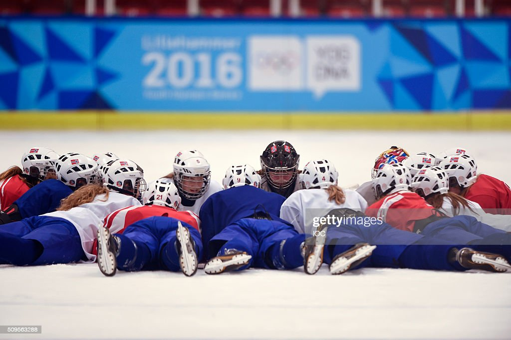 In this handout image supplied by the IOC, Norway's Women's Ice Hockey team during practice before the Winter Youth Olympic Games on February 11, 2016 in Lillehammer, Norway.
