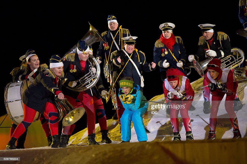 In this handout image supplied by the IOC, Performers during the Opening Ceremony of the Lillehammer 2016 Winter Youth Olympic Games at the Lysgardsbakkene Ski Jumping Arena on February 12, 2016 in Lillehammer, Norway.