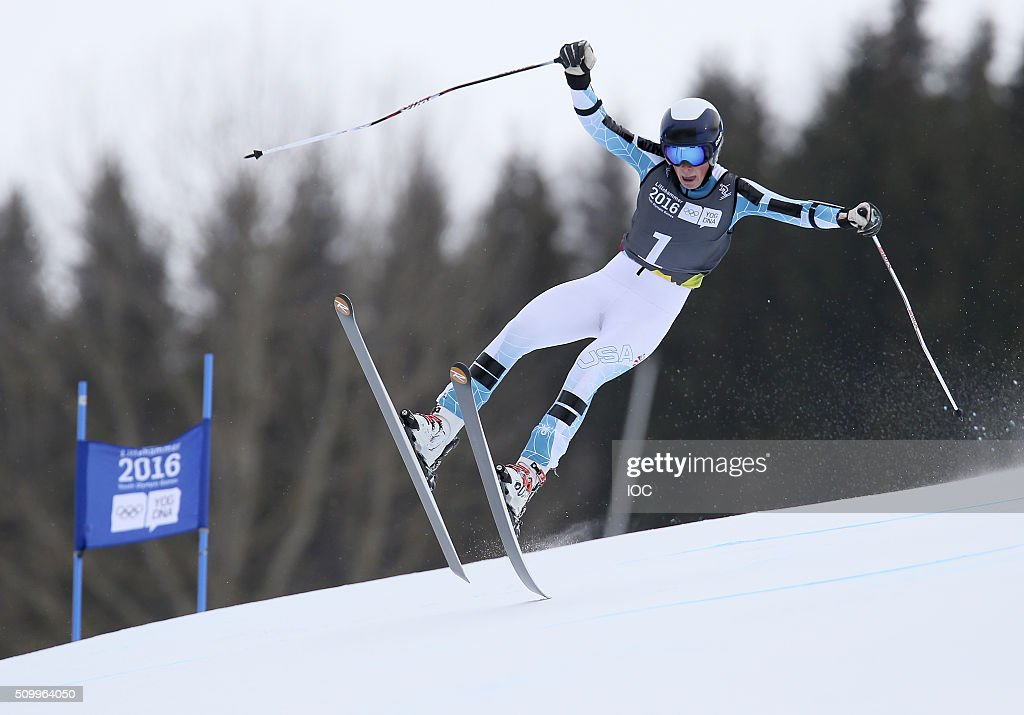 In this handout image supplied by the IOC, River Radamus of the United States wins the Alpine Skiing Men's Super-G at the Hafjell Olympic Slope during the Winter Youth Olympic Games on February 13, 2016 in Lillehammer, Norway.