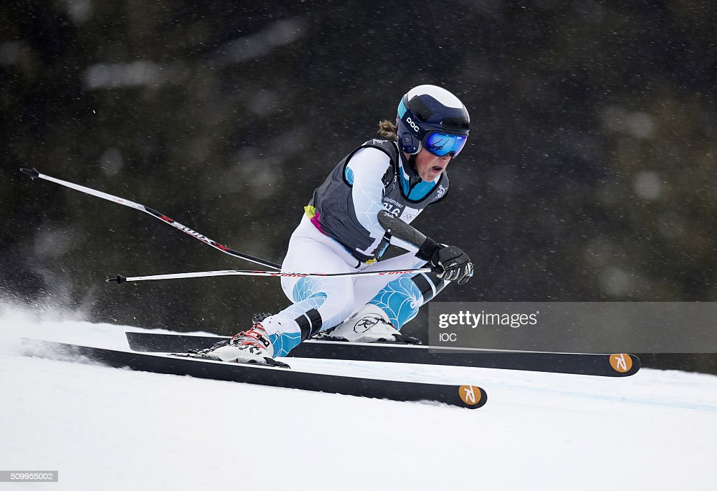In this handout image supplied by the IOC, River Radamus of USA competes in Alpine Skiing Men's Super-G at the Hafjell Olympic Slope during the Winter Youth Olympic Games on February 13, 2016 in Lillehammer, Norway.