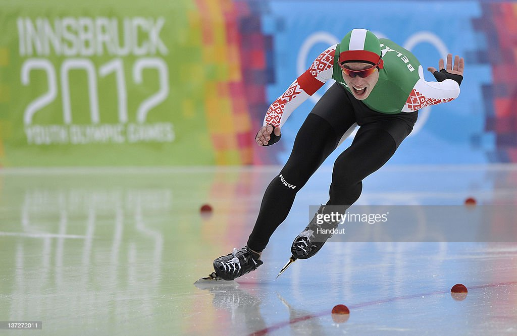 In this handout image supplied by the IOC (International Olympic Committee), Roman Dubovik of Belarus competes in the men's 500m speed skating at the Skating Oval during the Innsbruck 2012 Winter Youth Olympic Games, on January 14, 2012 in Innsbruck, Austria.