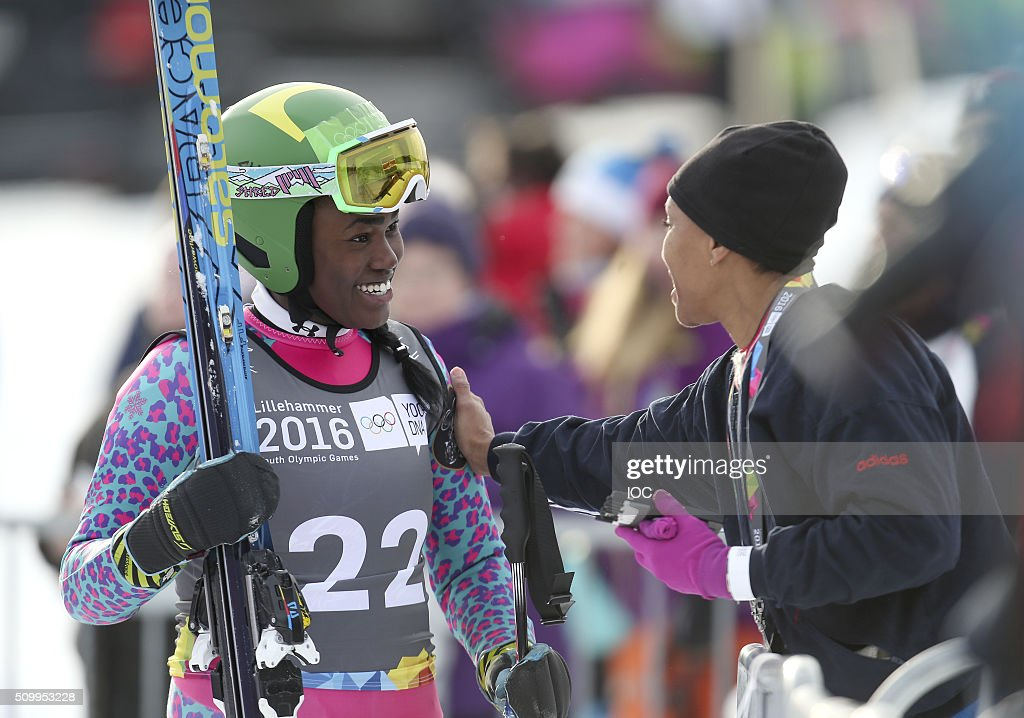 In this handout image supplied by the IOC, Sabrina Simader of Kenya is congratulated after her run in Alpine Skiing Ladies' Super-G at the Hafjell Olympic Slope during the Winter Youth Olympic Games on February 13, 2016 in Lillehammer, Norway.